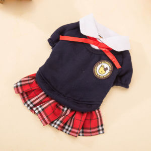Cute School Coat with Skirt Quality Girl Bowtie Dog Dress pictures & photos