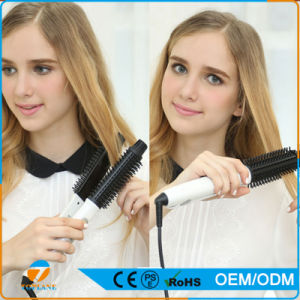 Hot Selling Brushes Makeup Flat Iron Hair Straightener with Detangling Brush pictures & photos