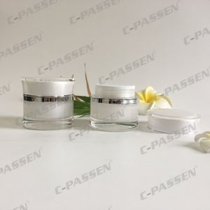 Pearl White Waisted Acrylic Cream Jar for Cosmetic Packaging (PPC-ACJ-112) pictures & photos