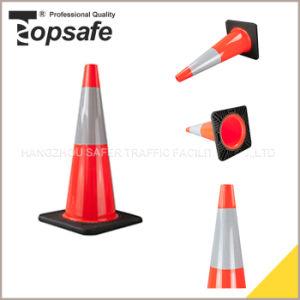 70cm Slim Body Black Base Interlock PVC Traffic Cone (S-1238S) pictures & photos