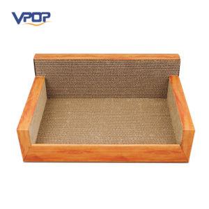Vpop Corrugated Cardboard Wooden Grain Cat Scracher Lounge Bed