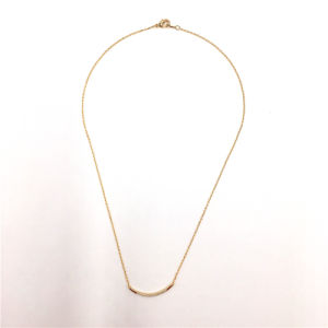 Simple Metal Bar Necklace with Crystal Stones