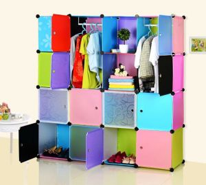 DIY Colorful Plastic Cheap Double Bedroom Wardrobe Cabinets pictures & photos