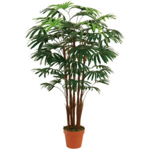 Artificial Plants of Five Finger Palms with Plastic Pot for Great Decoration