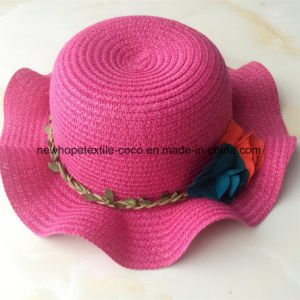 100% Paper Straw Hat, Fashion Falbala Style with Flower Decoration for Children pictures & photos