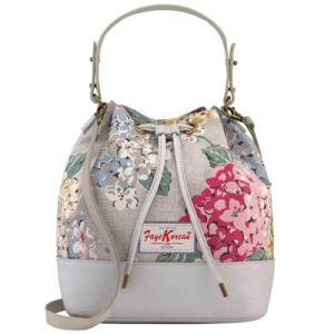 Vintage Style Canvas Leather Bucket Shoulder Bag (99221)