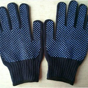 Double PVC Dots Work Safety Cotton Gloves pictures & photos