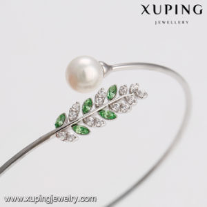 51674 Fashion Latest Europe Elegant Pearl Zircon Leaf Open Bangle pictures & photos