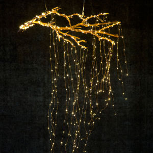 Low Voltage Powered Silver Wire Waterfall Copper String Lights 5 Branch 100 LEDs pictures & photos