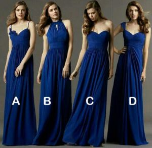 A-Line Multistyle Chiffon Strapless Thin Straps Halter Bridesmaid Dress pictures & photos