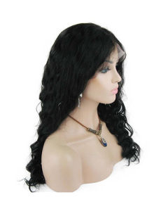 "18"" #1b Deep Wave Glueless Lace Front Wig pictures & photos"
