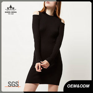 Ribbed Cold Shoulder Black Knit Women Sweater Dress pictures & photos