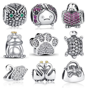 925 Sterling Silver Heart Bead Charms Pink Cubic Zirconia CZ Clip Charms Fit Bracelet Jewelry pictures & photos