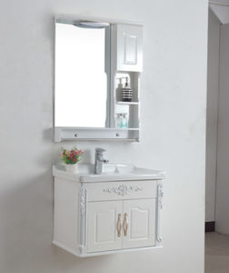 PVC Bathroom Furniture Wall-Mounted Ceramic Basin Cabinet Wds6140 pictures & photos