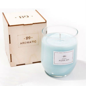 Light Blue Wax Scented Decorative Candle in Glass Jar