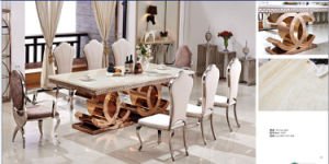 Classical Golden Stainlss Steel Dining Table with Marble Top pictures & photos