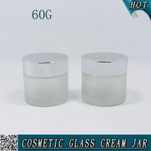 2oz 60g Frosted Glass Cosmetic Cream Jar with Shiny Silver Metal Cap pictures & photos