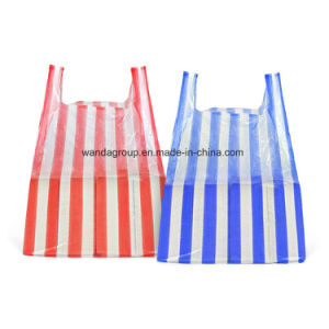 Environmental Friendly Stripe T-Shirt Bag in Pack pictures & photos