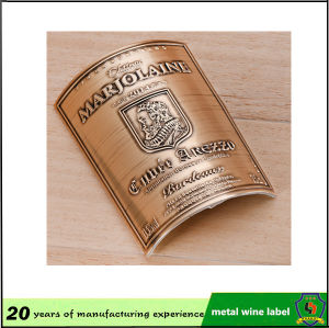 Aluminum Bottle Sticker Label/ Embossed Metal Tag/Metal Bottle Label pictures & photos