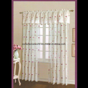 100%Polyester Window Curtain Embroidered Sheer Panel with Scalloped Bottom pictures & photos