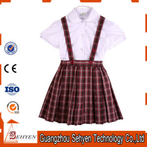 100%Cotton White Cotton Shirt and Scottish Skirt Primary School Uniform pictures & photos