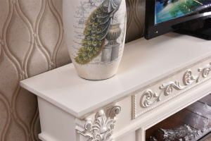 White sculpture European Heating Electrical Fireplace with TV Stand (321S) pictures & photos