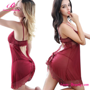 Red Lace Babydoll Nightdress Underwear Sexy Lingerie