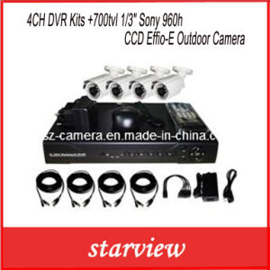 "4CH DVR Kits +700tvl 1/3"" Sony 960h CCD Effio-E Outdoor Camera pictures & photos"