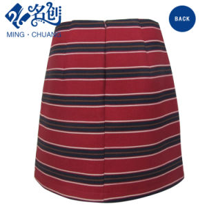 Newstyle Cross-Stripe Red Rear-Zipper Fashion Women Skirt pictures & photos