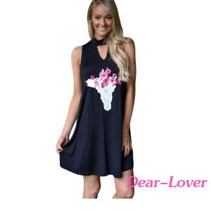 Floral Keyhole Front Casual Tank Women Dress pictures & photos
