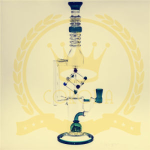 Blue Color 16 Inches Glass Water Pipe with Wheel Bubbler for Smoking pictures & photos