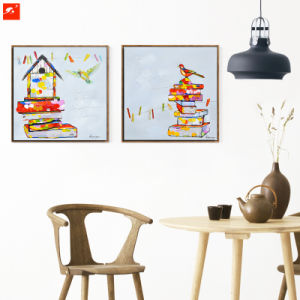Cartoon Style House and Birds Art Painting for Home Decor pictures & photos