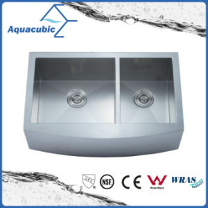 Double Bowl Handmade Stainless Steel Cupc Kitchen Sink (ACS3321A2Q) pictures & photos