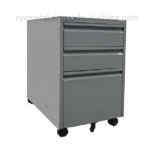 Three Filing Drawers Movable Files Steel Storage Cabinet pictures & photos