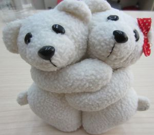 Embranced Cute Two Sheep