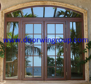 Europe Style Timber Aluminum French Door, Folding/Hinged Glass Patio Door, Interior Wood Aluminum French Door pictures & photos