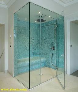 Custom Frameless Tempered Flat Indoor Bathroom Curtain Wall Glass Door