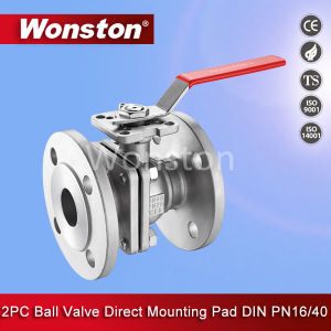 Stainless Steel Two Piece Flange Ball Valve with Direct Mounting Pad DIN Pn40