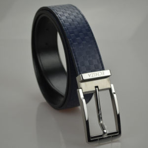 Tailor Smith Men′s Genuine Leather Belt Top Quality Navy Plaid Pattern Strap Belts pictures & photos