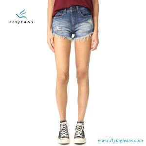 Ladies Fashion Skinny Snow Washed Jeans Denim Short by Manufacturer pictures & photos