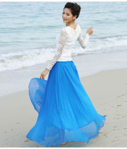 Chiffon Boho Beach Apparel Long Skirt for Holiday Skirt pictures & photos