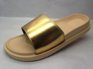 Comfortable and Concise High Elasticity Rubber Gold Slippers (21iw1718) pictures & photos