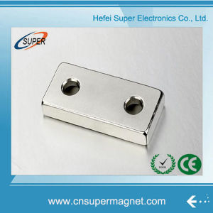 N35 50*30*10mm with 2 Hole NdFeB Block Magnet pictures & photos