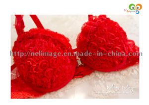 Rose Sweet Front Button Bra Set Sexy Halter-Neck Romantic Flower Underwear Set