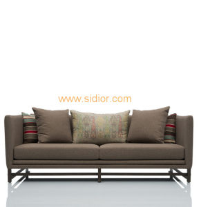 (CL-6624) Classic Hotel Restaurant Lobby Furniture Wooden Fabric Leather Sofa pictures & photos