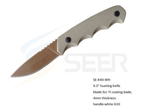 "9.3"" 3Cr13 Ti Coating Blade Hunting Knife with G10 Handle (SE-K40) pictures & photos"
