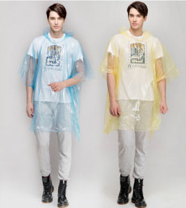 Simple Style Disposable PE Hooded Rain Poncho in Bag