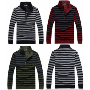 Wholesale Men′s Long Sleeve Yarn Dyed Stripe Polo Shirt pictures & photos