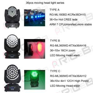 36PCS 10W RGBW Zoom LED Stage Moving Head Light pictures & photos