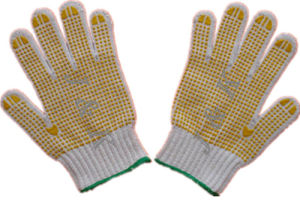 Safety Gloves Double PVC Dotted (JK41003C) pictures & photos